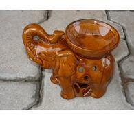 Keramická aromalampa slon, hnědá