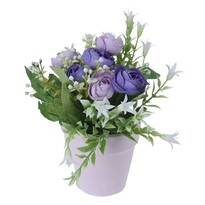Umelé ruže v kvetináči fialová, 21 cm