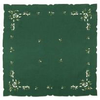 Karácsonyi abrosz, fagyöngy, zöld, 85 x 85 cm