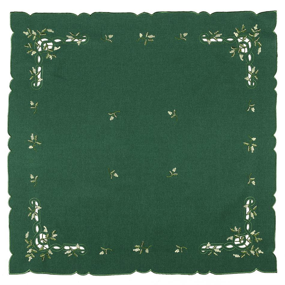 Forbyt Vánoční ubrus jmelí zelená,, 85 x 85 cm