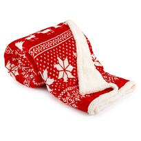 Rénszarvas meleg takaró, piros, 150 x 200 cm
