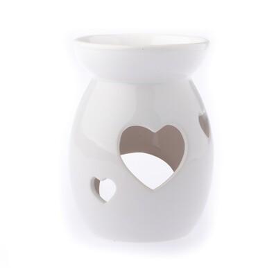 Szív kerámia aromalámpa, fehér