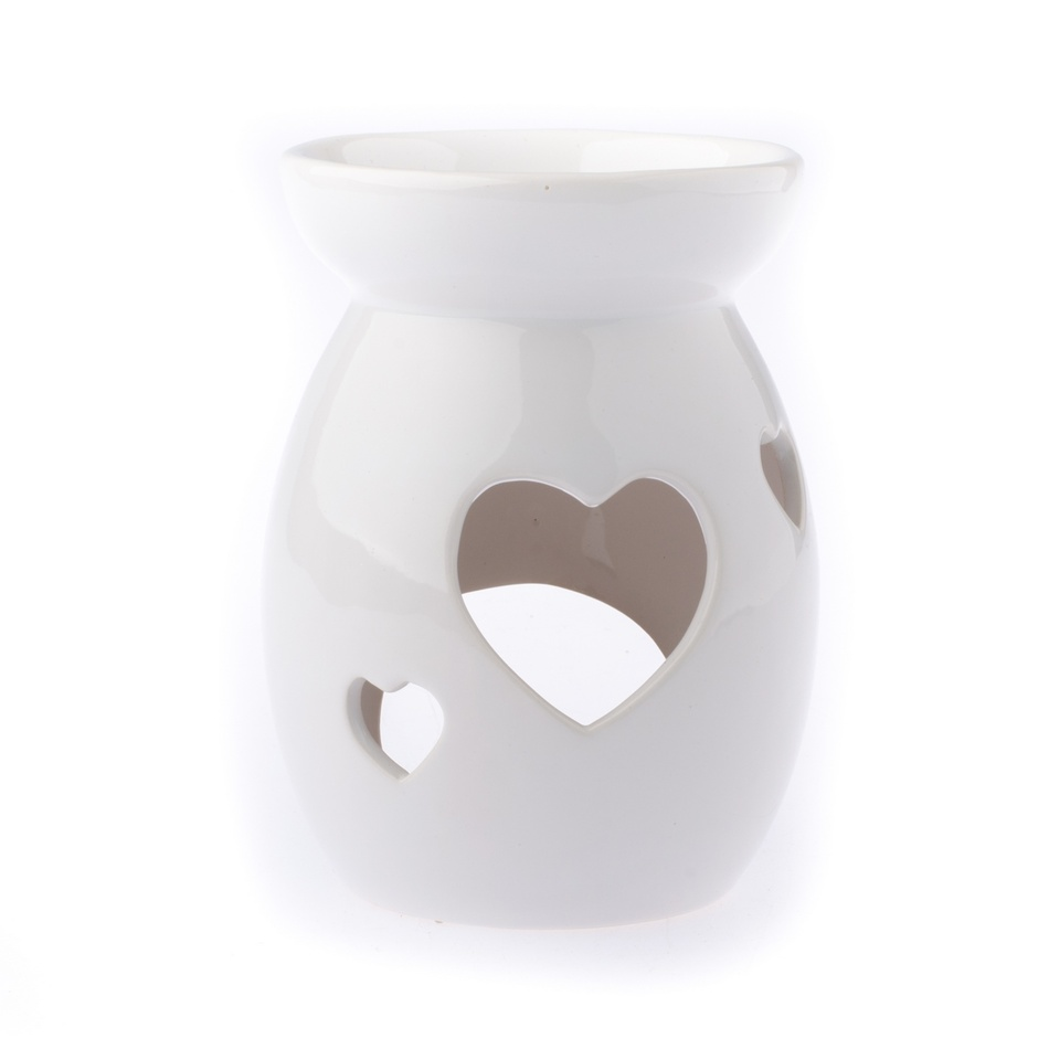 Keramická aromalampa Srdce, biela