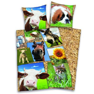 Dětské bavlněné povlečení Farma, 140 x 200 cm, 70 x 90 cm