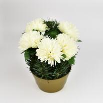 Dekoracja zaduszna z chryzantemami 23 cm, biały