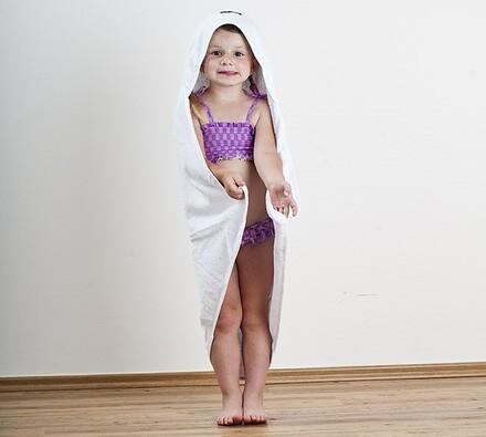 Froté dětská osuška s kapucí bílá, 75 x 75 cm