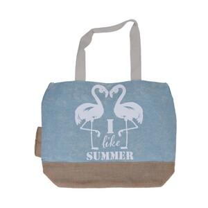 Plážová taška Plameňák, sv. modrá