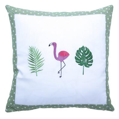 Faţă de pernă Flamingo, verde, 40 x 40 cm