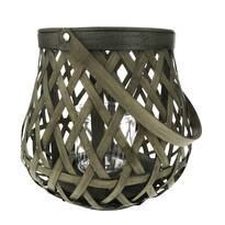 Boras bambusz lámpás üveggel, 26 x 24 cm