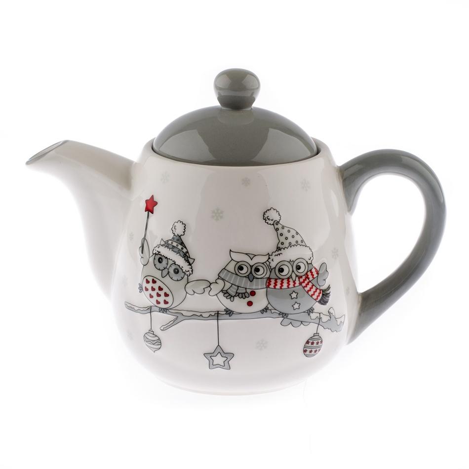 Keramická konvička na čaj Zimní sovičky