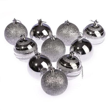 Karácsonyi gömbdísz 10 db, ezüst