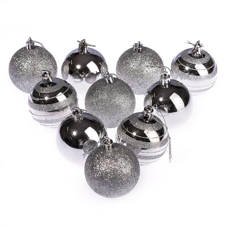 HTH Vánoční koule 10 ks stříbrná pr. 6 cm