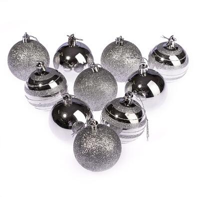 Vánoční koule 10 ks, stříbrná