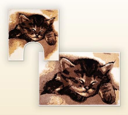 Koupelnová předložka + WC předložka Grund CATTY, s, béžová + hnědá