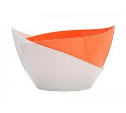 Samozavlažovací květináč Doppio, bílá + oranžová