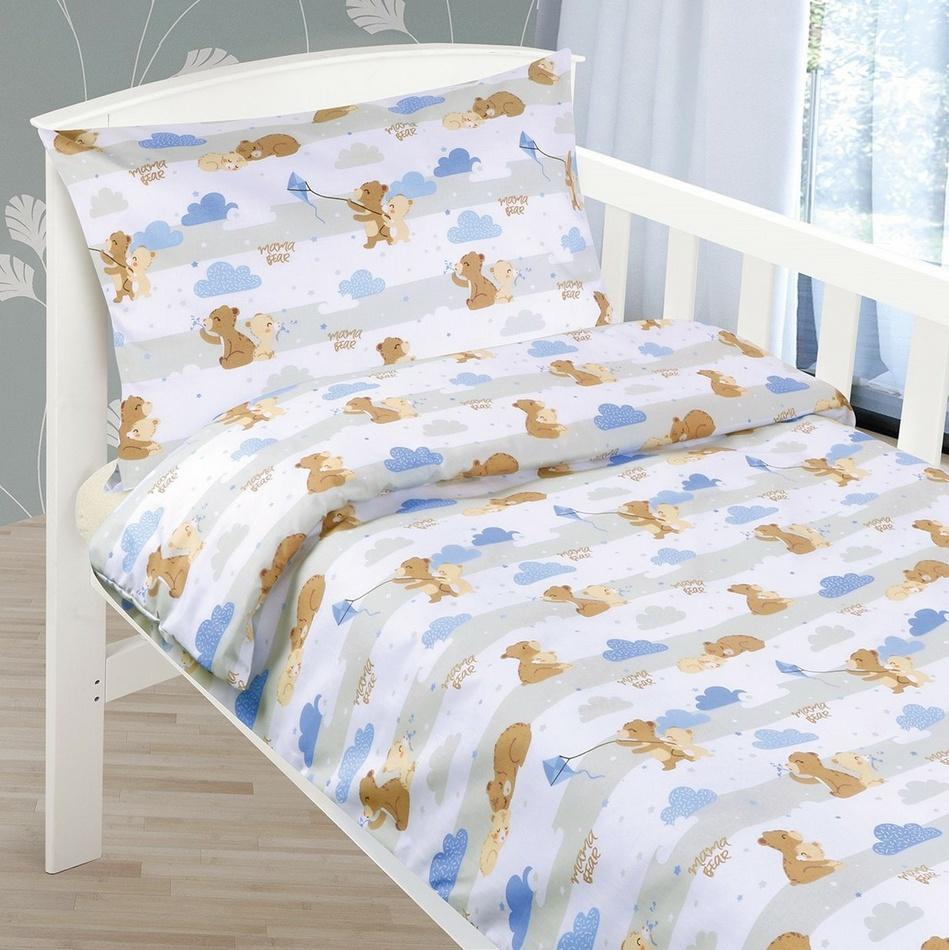 Bellatex Detské bavlnené obliečky do postieľky Medvedíky, 90 x 135 cm, 45 x 60 cm