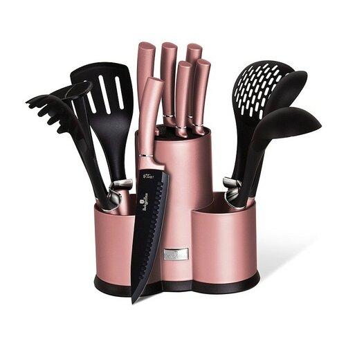 Set 12 piese instrumente de bucătărie BerlingerHaus I-Rose Edition, cu suport