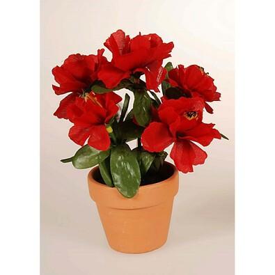 Umělá květina azalka v květináči, červená, červená