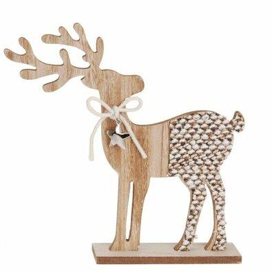 Vánoční dřevěná dekorace Reindeer with ribbon hnědá, 26 cm