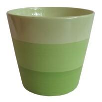 Osłonka ceramiczna na doniczkę Stripes zielona, śr. 13,5 cm