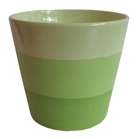 Keramický obal na květináč Stripes zelená, pr. 13,5 cm