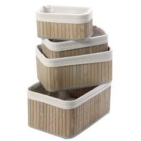 4-dielna sada bambusových košíkov