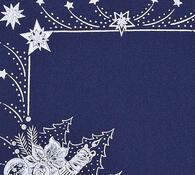 Vánoční ubrus s potiskem, modrá, 42 x 85 cm