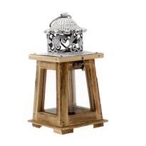 Dřevěná lucerna Martine, 11 x 23,5 x 11 cm