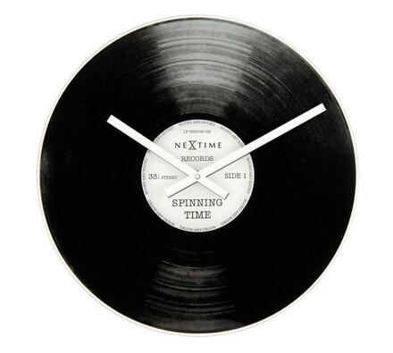 Hodiny Nextime Spinning Time, 40cm, čierna, pr. 40 cm