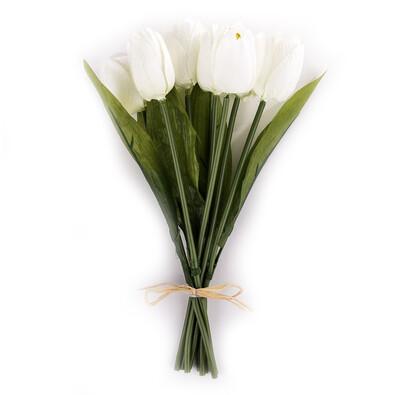 Umělá květina tulipán 9 ks, bílá