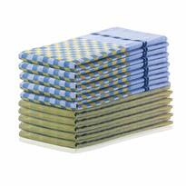 DecoKing Kuchynská utierka Louie žltá a modrá, 50 x 70 cm, sada 10 ks