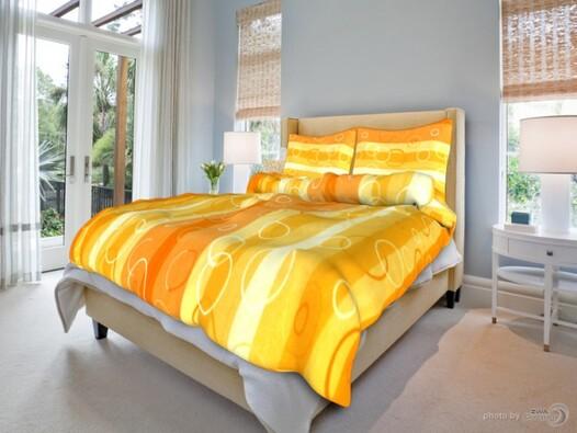 Bavlněné povlečení Kola oranžové, 140 x 200 cm, 70, žlutá, 140 x 200 cm, 70 x 90 cm