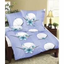 Lenjerie de pat, din flanelă, Crin albastru, 140 x 220 cm, 70 x 90 cm
