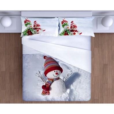 Lenjerie pat Gipetex Pupazo di Neve 3D, bumbac, 140 x 200 cm, 70 x 90 cm
