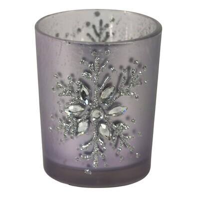 Svícen skleněný sněhová vločka