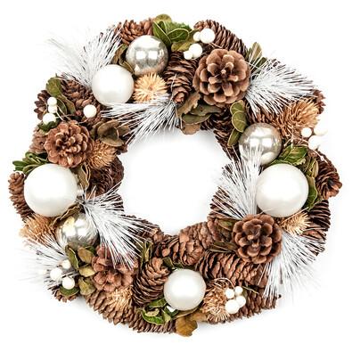Coroniţă de Crăciun, cu conuri de brad, frunze şi  globuri, diam. 29 cm