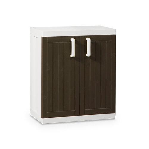 Plastová skříňka Wood - Bílá/hnedá