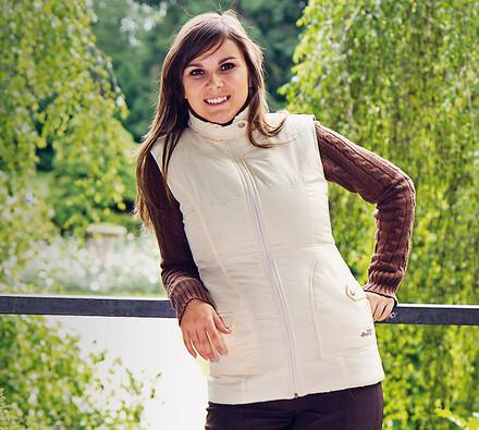 Prošívaná vesta, béžová, XL