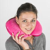 Cestovní polštářek s mikrokuličkami růžová, 29 x 31 cm