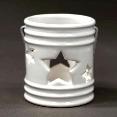 Svícen s hvězdou, bílý, 7,2 x 8,2 cm, bílá