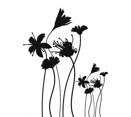 Samolepící dekorace Černobílé květiny