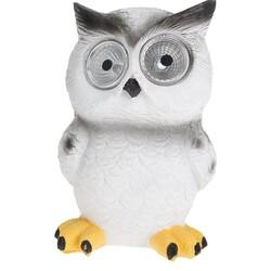 Lampă solară Standing owl, alb, 9 x 9 x 12,5 cm