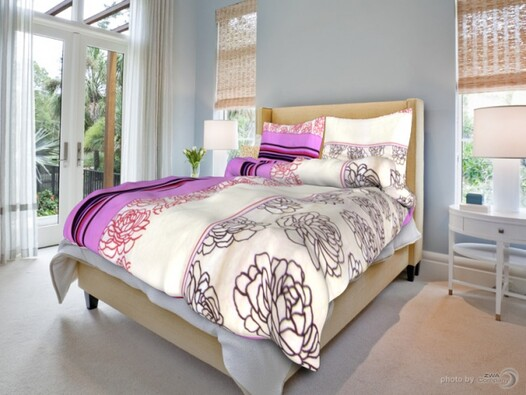 Bavlněné povlečení Růže na černobílém, 140 x 200 c, bílá + fialová, 140 x 200 cm, 70 x 90 cm