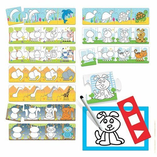 HEADU Puzzle Step by Step Škola kreslení 10x4 dílky