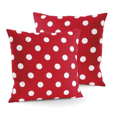 Bavlněné povlaky na polštářky Červený puntík, 40 x 40 cm, sada 2 ks