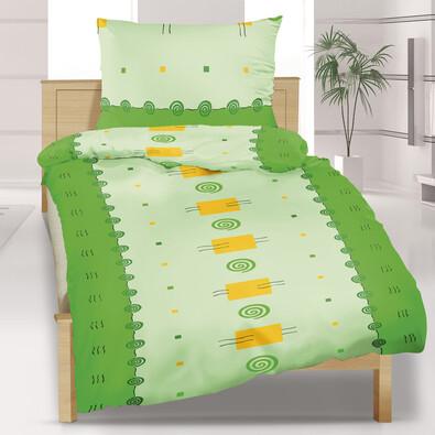 Flanelové povlečení Čtverec zelený, 140 x 220 cm, 70 x 90 cm