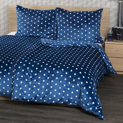 4Home obliečky mikroflanel Stars modrá, 140 x 220 cm, 70 x 90 cm