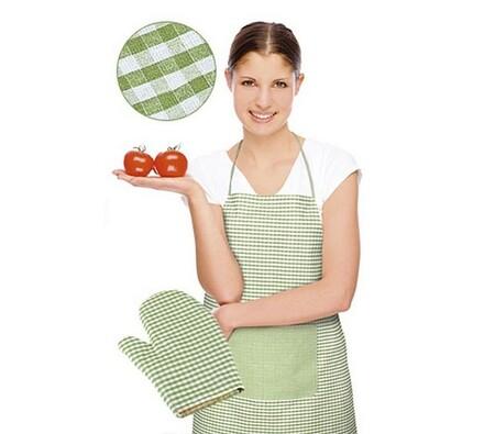 Zástěra s chňapkou, sv. zelená kostička