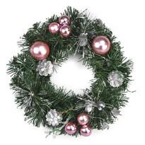 Vánoční věnec Esfera růžová, 28 cm