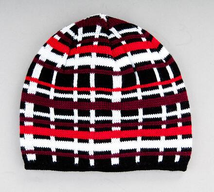 Pánská pletená čepice Karpet 5147, červená, vícebarevná